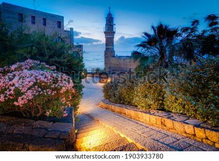 Evening Tel Aviv-Yafo, Al bahar Mosque Stok fotoğraf ©