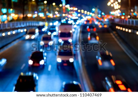 Evening traffic The city lights Motion blur