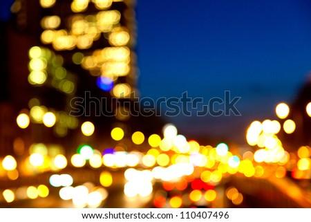 Evening traffic. The city lights. Motion blur.