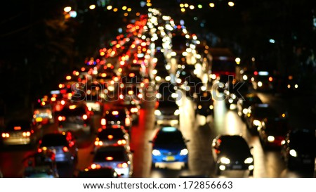 Evening traffic. The city lights. Motion blur.