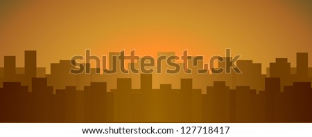 evening urban background with many city house and place for text