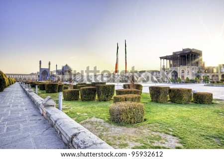 evening view at Imam Square(Naqsh-e Jahan Square) in Isfahan, Iran - stock photo