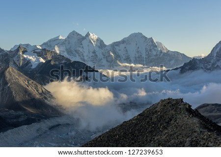 Evening view from the Kala Patthar to the south - Everest region, Nepal