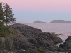 Evening view, looking over the broken islands, Wild Pacific Trail, Ucluelet, Vancouver Island, BC, Canada