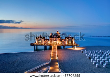 Evening view of a pier at the Baltic Sea