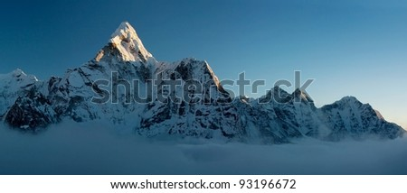 evening view of Ama Dablam - stock photo