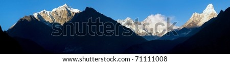 evening view of Ama Dablam, Lhotse, Nuptse and top of Everest - Nepal