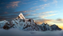 Evening view of Ama Dablam on the way to Everest Base Camp - Nepal Himalayas mountains