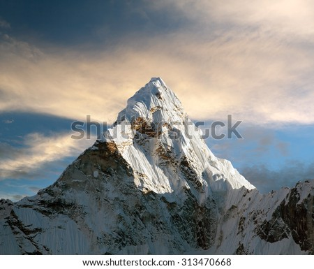 Evening view of Ama Dablam with beautiful clouds on the way to Everest Base Camp - Nepal #313470668