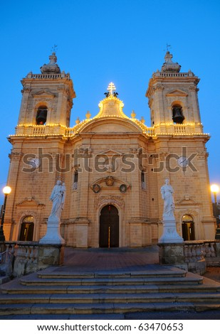 Evening view of Church of Our Lady of Victory in Xagra, Gozo island, Malta