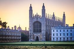 Evening view of Clare College in Cambridge, UK