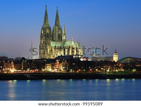 Evening view of Cologne Cathedral from the Rhine river, Germany