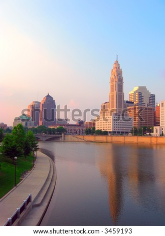 Evening view of downtown Columbus, Ohio and the Scioto River.