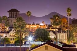 Evening view of downtown Riverside, California, skyline.