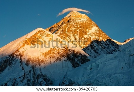 evening view of Everest with small cloud