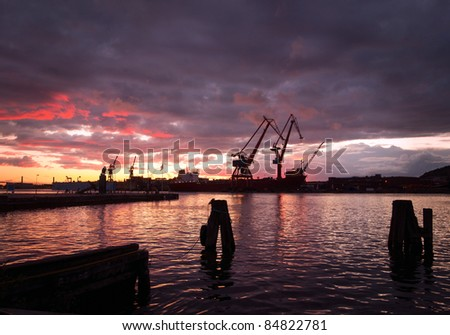 Evening view of harbor area with cranes