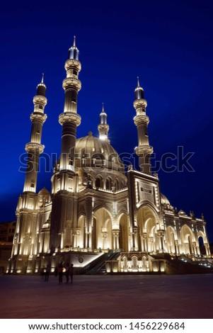 Evening view of Heydar Mosque, Baku, Azerbaijan