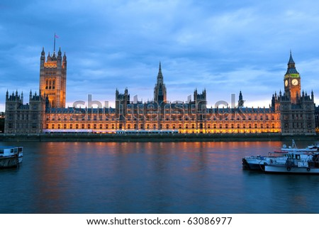 Evening view of House of Parliament, London, United Kingdom