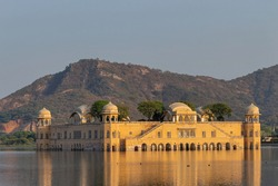 Evening view of Jal Mahal a palace in the middle of the Man Sagar Lake, Jaipur, Rajasthan, India.