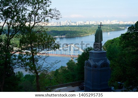 Evening view of Kiev and bronze sculpture. Monument to Vladimir the Great