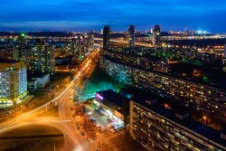 Evening view of Kiev city (Berezniaki district).