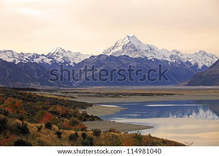 Evening View of Mount Cook and Pukaki lake, New Zealand #114981040