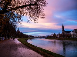 Evening view of the city of Salzburg, Austria