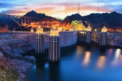 Evening view of the Hoover Dam in Boulder, Nevada, USA