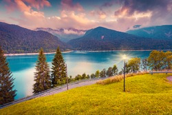 Evening view of the lake Sauris in the Dolomites mountains, Italy, Europe. Instagram toning.