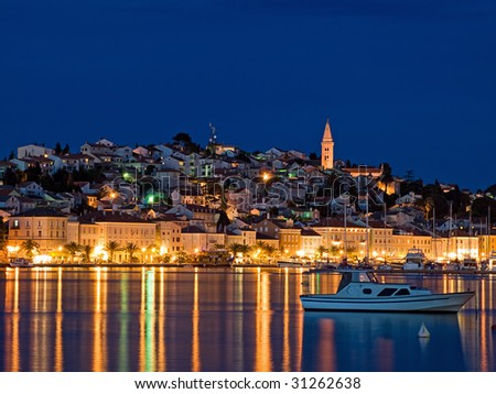 Evening View of the largest city on the island Losinj,Croatia. Long exposure.