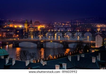 Evening View of The Vltava River and Bridges in  Prague , Czech republic