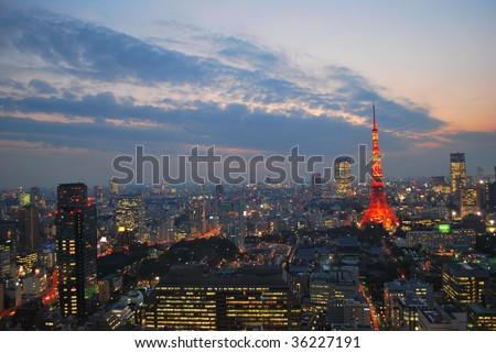 Evening view of Tokyo city, a city that never sleeps.