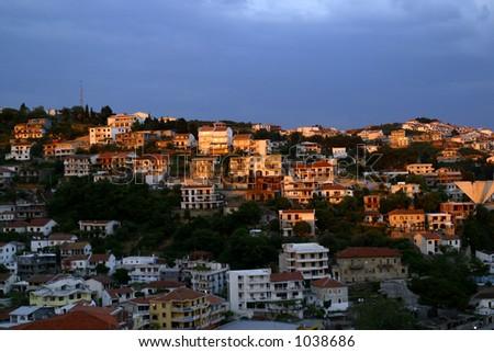 evening view of Ulcinj, an old roman port in Montenegro