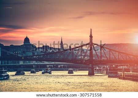 evening view on Budapest from river to the bridge and architecture