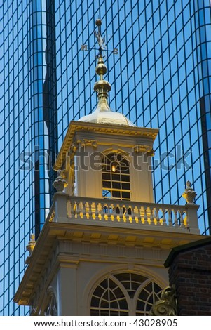 Evening view on the Boston Old City Hall house architectural detail with glass building backgroung - stock photo