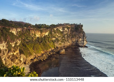 Evening view on the coast of the Bali island