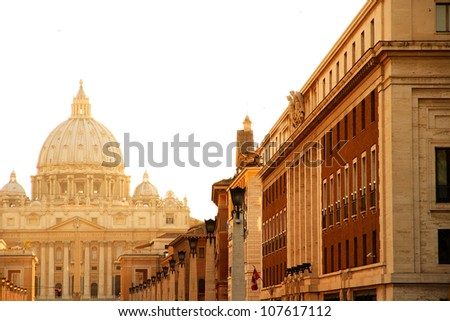 Evening view on the Vatican in Rome, Italy.