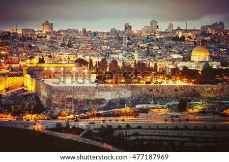 Evening view to Jerusalem old city. Israel. Vintage retro effect