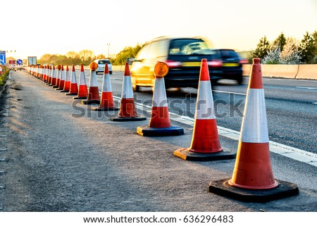 Evening view UK Motorway Services Roadworks Cones