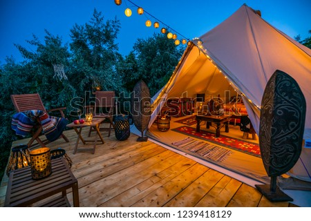 evening view with indian glamping tent 5