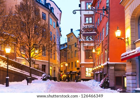 Evening winter scenery of street in Old Town (Gamla Stan) in Stockholm, Sweden