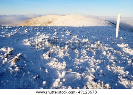 evening wintry view from great fatra mountains - slovak republic