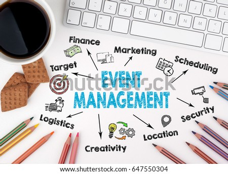 Event management concept. Computer keyboard on a white table #647550304