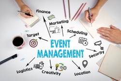 Event management Concept. The meeting at the white office table