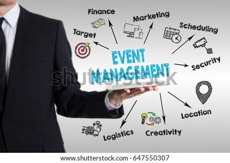 Event management concept with young man holding a tablet computer