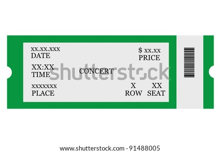Event ticket, isolated, made with Photoshop