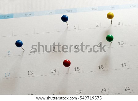 Events calendar- mark the event day with a pin. Personal Organizer. #549719575