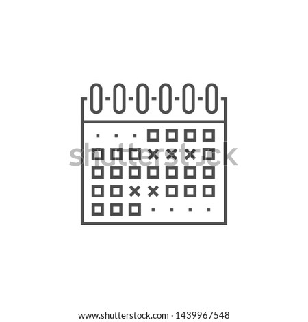 Events Calendar Related Thin Line Icon. Isolated on White Background