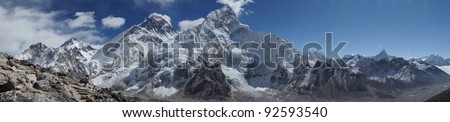 Everest and Lhotse mountain peaks. View from Kala Pattar - Nepal
