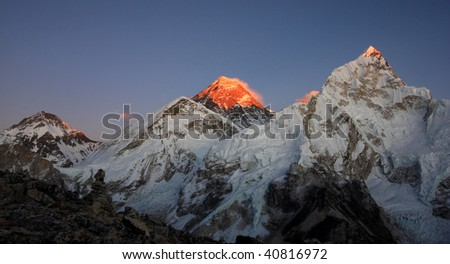 Everest at sunset from Kala Pattar